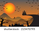 halloween night background with ... | Shutterstock .eps vector #215470795