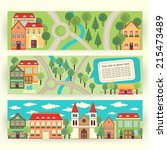 set of banners with cityscape.... | Shutterstock .eps vector #215473489