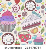 seamless pattern with sweets.... | Shutterstock .eps vector #215478754