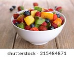 delicious fruits salad in plate ... | Shutterstock . vector #215484871