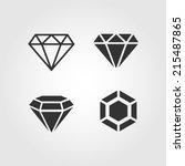Diamond  Icons Set  Flat Design