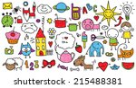 collection of cute children's... | Shutterstock . vector #215488381