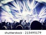 crowd enjoying concert  happy... | Shutterstock . vector #215495179