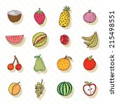 fruit icon set. illustration.  | Shutterstock . vector #215498551