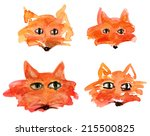 funny fox faces on white... | Shutterstock . vector #215500825