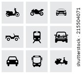 vector black vehicles icons set ... | Shutterstock .eps vector #215504071