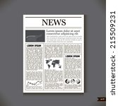 the newspaper with a headline... | Shutterstock .eps vector #215509231