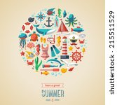 summer concept. flat icons in... | Shutterstock .eps vector #215511529
