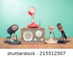 retro old style microphones and ... | Shutterstock . vector #215512507