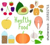 set of healthy food illustration | Shutterstock .eps vector #215521711