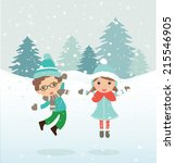 happy kids playing. can be used ... | Shutterstock .eps vector #215546905