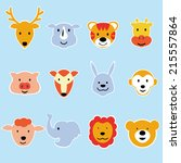 wild animal cartoon face vector ...   Shutterstock .eps vector #215557864