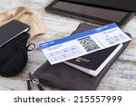 airline ticket  passport and... | Shutterstock . vector #215557999
