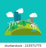 green city environmental... | Shutterstock .eps vector #215571775
