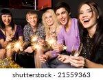 row of joyful friends with... | Shutterstock . vector #21559363