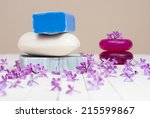 soaps with lilac flowers on... | Shutterstock . vector #215599867