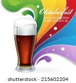 glass of  beer and rainbow on... | Shutterstock .eps vector #215602204