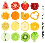 collection of fresh fruit and... | Shutterstock . vector #215618341