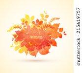 watercolor autumn vector... | Shutterstock .eps vector #215619757
