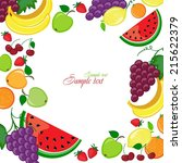 background with fruits and... | Shutterstock .eps vector #215622379