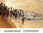 calella   may 18  triathletes... | Shutterstock . vector #215631631