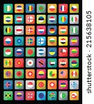 large set of colourful flat... | Shutterstock .eps vector #215638105