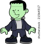 Illustration of young boy as Frankenstein monster - stock photo
