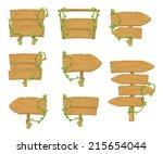 stock vector wooden sign boards ... | Shutterstock .eps vector #215654044