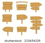 stock vector wooden sign boards ... | Shutterstock .eps vector #215654239