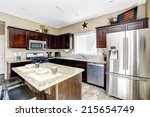 dark brown cabinets with... | Shutterstock . vector #215654749