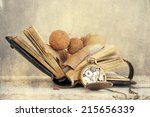photo of book and dried leaf | Shutterstock . vector #215656339