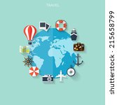 world travel concept background.... | Shutterstock .eps vector #215658799