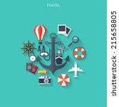 world travel concept background.... | Shutterstock .eps vector #215658805