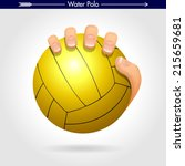hand holding water polo ball... | Shutterstock .eps vector #215659681