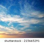 sky background on sunset.... | Shutterstock . vector #215665291