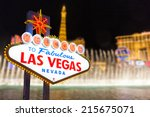 las vegas sign and strip... | Shutterstock . vector #215675071