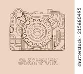 hand drawn steampunk photo... | Shutterstock .eps vector #215680495