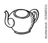 teapot sketch  contour vector... | Shutterstock .eps vector #215685211