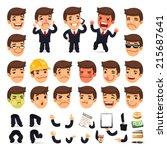 set of cartoon businessman... | Shutterstock .eps vector #215687641