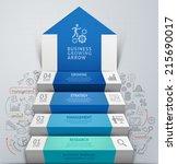 3d business arrow step... | Shutterstock .eps vector #215690017