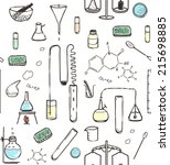 chemical laboratory seamless... | Shutterstock .eps vector #215698885
