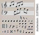 set of music notes vector.... | Shutterstock .eps vector #215700841