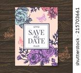 vintage wedding invitation with ... | Shutterstock .eps vector #215703661