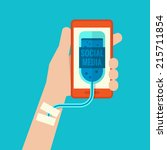 smartphone addiction flat design | Shutterstock .eps vector #215711854