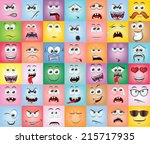 cartoon faces with emotions | Shutterstock .eps vector #215717935