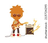 shaggy musician man playing on... | Shutterstock .eps vector #215724295
