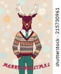reindeer in knitted sweater.... | Shutterstock .eps vector #215730961