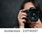 Closeup Of Young Woman Using...