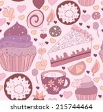 seamless pattern with sweets | Shutterstock .eps vector #215744464