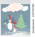 cheerful and bright snowman and ... | Shutterstock . vector #215745784